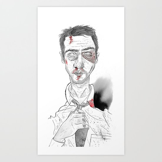 The first rule is- The Narrator Edward Norton Art Print