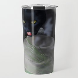 Black Kitty Cat with Fish in Fishbowl Travel Mug
