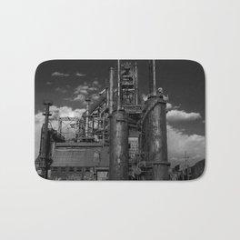 Black and White Bethlehem Steel Blast Furnaces Bath Mat