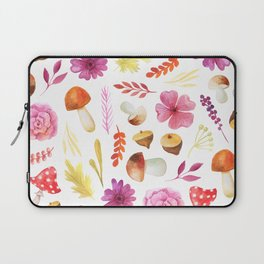 Magenta yellow hand painted watercolor Autumn floral Laptop Sleeve