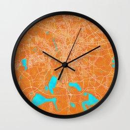 Leipzig, Germany, Gold, Blue, City, Map Wall Clock