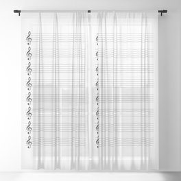 Treble Clef Staves Sheer Curtain