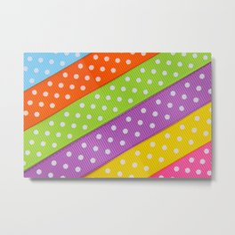 Polka Dot Ribbon Metal Print