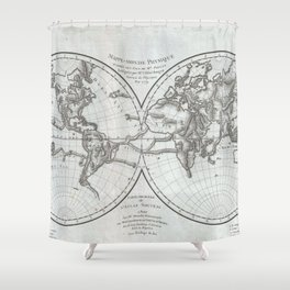 Vintage Northern and Southern World Hemisphere Map Shower Curtain