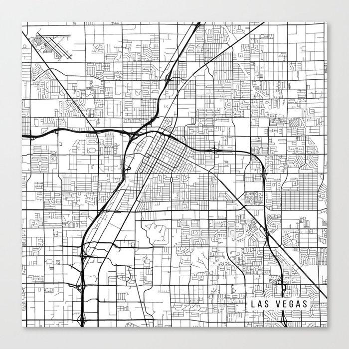 Las Vegas Map, USA - Black and White Canvas Print by mainstreetmaps ...