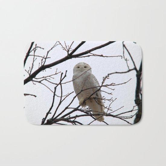 Snowy Owl in the Treetop Bath Mat