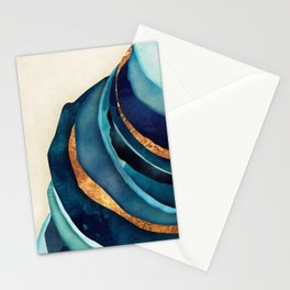 Abstract Blue with Gold Stationery Cards
