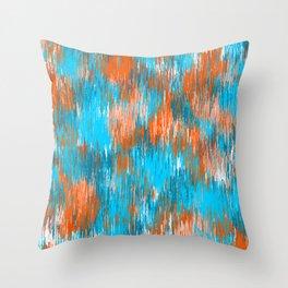 Orange Blue #2 Brush Strokes Throw Pillow