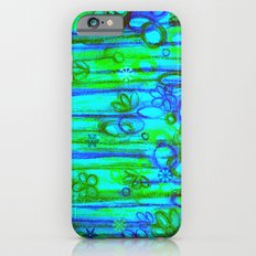 WINTER GARDEN -Bright Blue Green Neon Snowflake Floral Abstract Watercolor Painting and Digital Art Slim Case iPhone 6