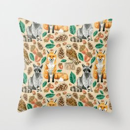 Woodland Creatures Illustrated Watercolor Pattern Throw Pillow