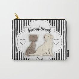 Unconditional Love Cat and Dog as Family Members Stripes Carry-All Pouch
