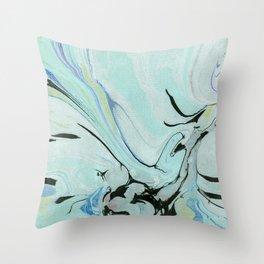 Soft Blue & Black Marbling Throw Pillow