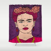 frida Shower Curtains featuring frida by gzm_guvenc