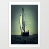 sailboat Art Prints featuring sailboat by laika in cosmos