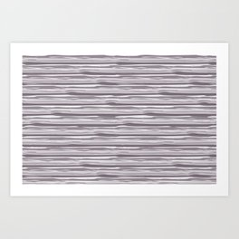 Dark Lavender - Muted Plum Horizontal Grunge Lines Parable Farrow and Ball Brassica Purple 271 Art Print
