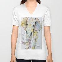 boho V-neck T-shirts featuring Boho Elephant by Maya Antoni