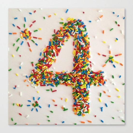 Sprinkles, Fireworks and the Number 4 Canvas Print