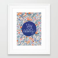 navy Framed Art Prints featuring Stay Curious – Navy & Coral by Cat Coquillette