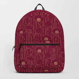 Poppies Field, Hand-drawn Floral Pattern in Deep Red and Gold Texture Backpack