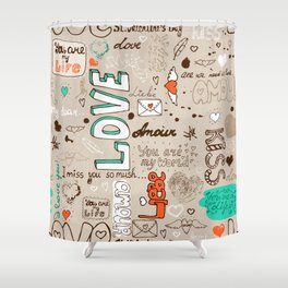 Seamless love letter pattern Shower Curtain