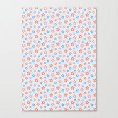 Blue Pink Flower Pattern Canvas Print