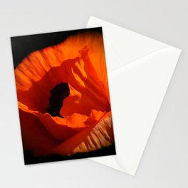 another red poppy on black Stationery Cards