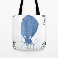 squid Tote Bags featuring squid.  by Elvis Vazquez
