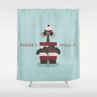 wall e Shower Curtains featuring Where's Wall-e? by Robert Scheribel