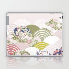 scales simple Nature background with japanese sakura flower, rosy pink Cherry, wave circle pattern Laptop & iPad Skin