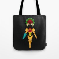 metroid Tote Bags featuring Metroid by A Strom