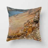 hiking Throw Pillows featuring Mountain hiking by Mariana Lisina