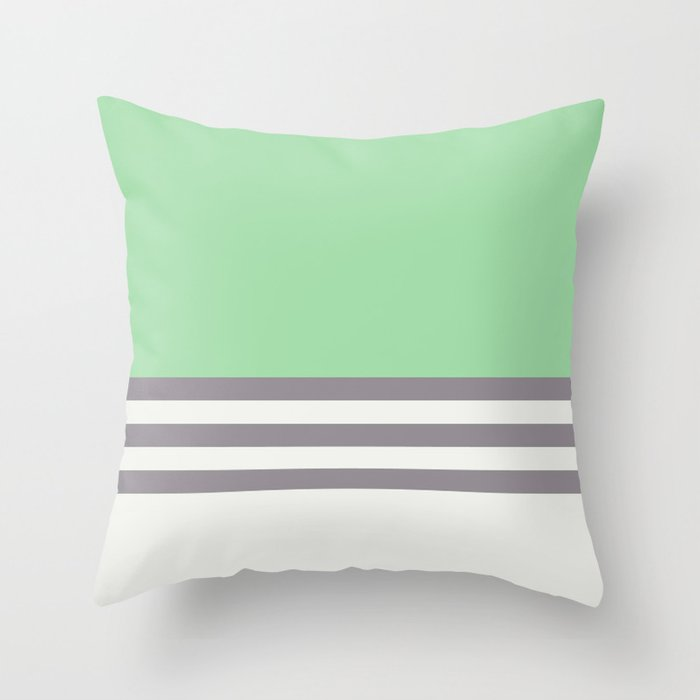 Pastel Green, Gray & Linen White Straight Stripes Pattern - 2020 Color of the Year Neo Mint Throw Pillow