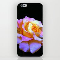 rose gold iPhone & iPod Skins featuring Pink And Gold Rose by minx267