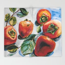 Watercolor Persimmons With Leaves Throw Blanket