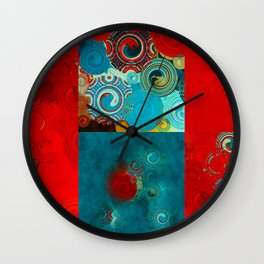 Teal and Red Swirls Wall Clock