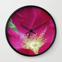 hot pink Wall Clocks featuring Hot Pink by Astrid Ewing