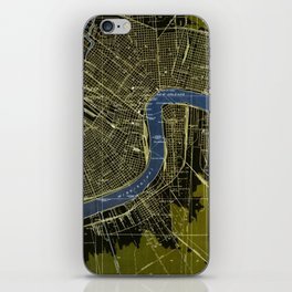 New Orleans Louisiana 1932 GREEN AND BLUE VINTAGE OLD MAP iPhone Skin