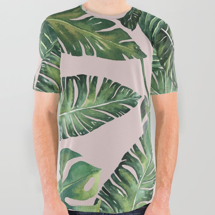 Jungle_Leaves_Banana_Monstera_Pink_society6_All_Over_Graphic_Tee_by_Wheimay__Small