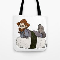 nori Tote Bags featuring Nori on a Sushi by BlueSparkle