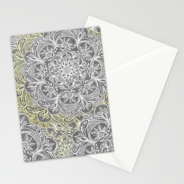 Yellow & White Mandalas on Grey Stationery Cards