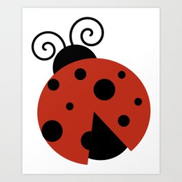 Ladybug, Ladybird, Lady Beetle - Red Black Art Print