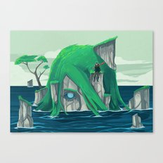 The wanderer and the ancient island Canvas Print