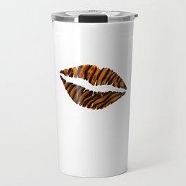Tiger Pattern Lips Stripes Fur Mouth Animal Print Travel Mug