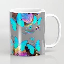 MODERN ART NEON BLUE BUTTERFLIES PATTERNS ART Coffee Mug