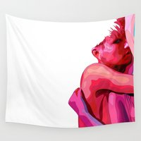 women Wall Tapestries featuring women by veronica ∨∧