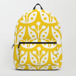 Mid Century Flower Pattern Yellow Backpack