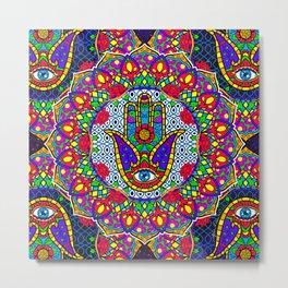 Hamsa Harmony Mandala Metal Print