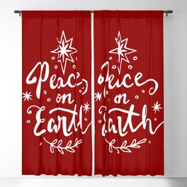 Peace On Earth - White on Red Blackout Curtain