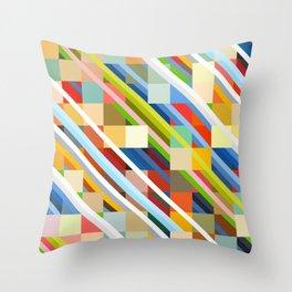 Colorful Geometric Stripes Radande Throw Pillow