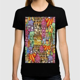 Suburbia watercolor collage T-shirt